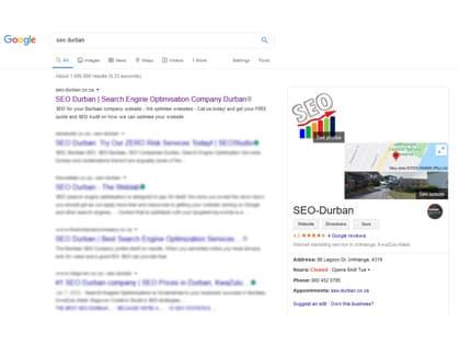 SEO Durban Google Search rank number 1